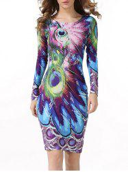 Peacock Feather Print Long Sleeve Bodycon Dress