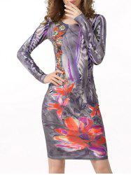 Ink Floral Bodycon Dress with Long Sleeve