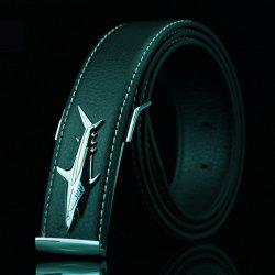 Alloy Shark Covered Pin Buckle Faux Leather Belt - BLACK