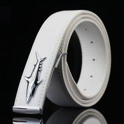 Alloy Shark Covered Pin Buckle Faux Leather Belt - WHITE
