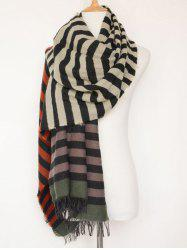 Striped Oblong Shawl Scarf with Fringed