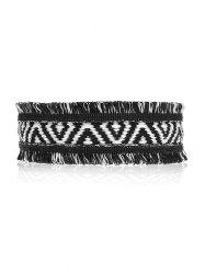Fringed Geometric Knitted Choker Necklace