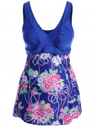 Sweet V-Neck Flower Print Swimsuit For Women