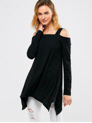 Cold Shoulder Asymmetrical T-Shirt