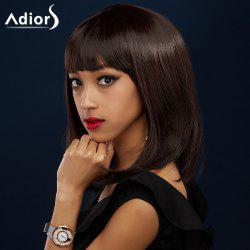 Adiors Medium Full Bang Natural Straight Bob Synthetic Wig