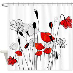 Thicken Flower Print Waterproof Shower Curtain with Hooks - WHITE