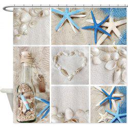 Starfish Shell Mouldproof Waterproof Bath Curtain