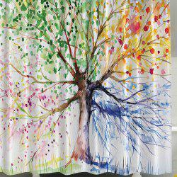 Four Season Tree Mouldproof Bathroom Curtain with Hooks - COLORFUL
