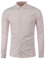 Back Pleat Embroidered Striped Shirt