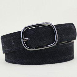 Plain Wide Pigskin Waist Belt - BLACK