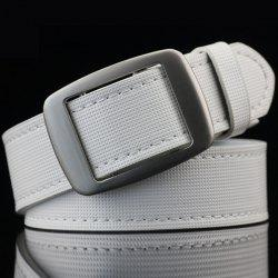 Gingham Embossed Faux Leather Square Buckle Belt -