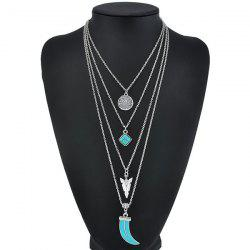 Multilayered Geometry Pendant Necklace -