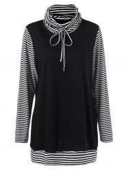 Striped Plus Size Turtleneck T-Shirt