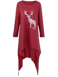 Deer Print Plus Size Asymmetric T-Shirt -
