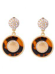Rhinestone Leopard Print Circle Earrings