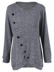 Long Sleeve Plus Size Button Up Overlap Cardigan - GRAY