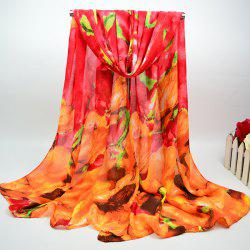 Cotton Blend Chiffon Scarf with Big Floral Oil Painting