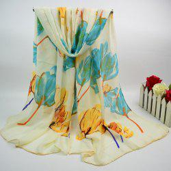Cotton Blend Chiffon Scarf with Tulip Painting