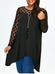 Plus Size Polka Dot Mesh Panel Tunic T-Shirt