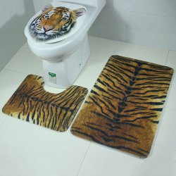 Tiger Pattern Antislip Toilet and Bath Mats Sets 3 Pieces
