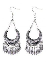 Geometrical Embellished Tassel Drop Earrings