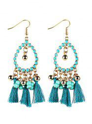 Bohemian Tassel Drop Earrings - GREEN