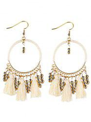 Bohemian Tassel Circle Drop Earrings - WHITE