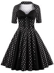 Sweetheart Neck Polka Dot Vintage Dress