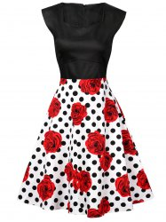 Polka Dot Floral Knee Length Flare Dress - BLACK AND WHITE AND RED XL