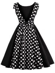 Polka Dot Print Backless Vintage Dress - BLACK XL