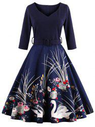 Vintage Printed Fit and Flare Waisted Dress - PURPLISH BLUE M