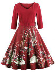 Vintage Printed Fit and Flare Waisted Dress - RED S