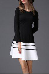 Colorblock Long Sleeve Flare Dress -