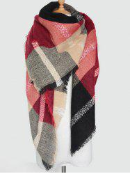 Plaid Pattern Knit Blanket Shawl Wrap Scarf with Fringed -