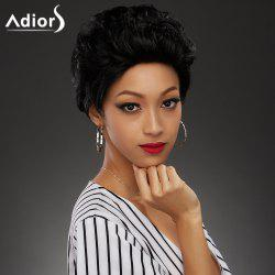 Shaggy Straight Capless Fashion Ultrashort Black Synthetic Wig For Women