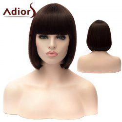 Adiors Short Full Bang Silky Straight Bob Party Synthetic Wig - DEEP BROWN
