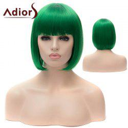 Adiors Short Full Bang Bob Silky Straight Party Cosplay Synthetic Wig - GREEN