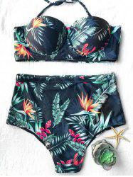 Leaf Print Two Piece Swimsuit with High Waisted Bottom