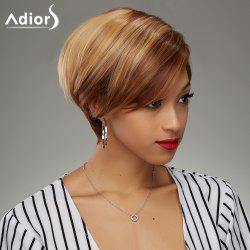 Fashion Short Haircut Soft Straight Blonde Highlight Synthetic Wig For Women - COLORMIX