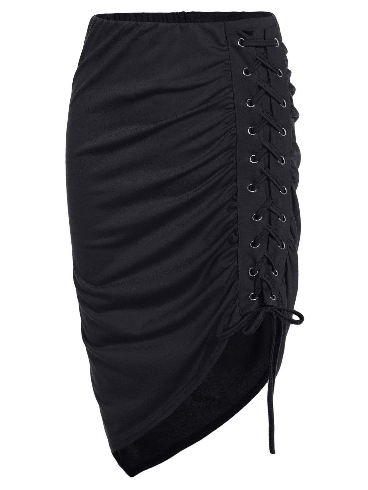 Shops Lace Up Ruched High Low Skirt