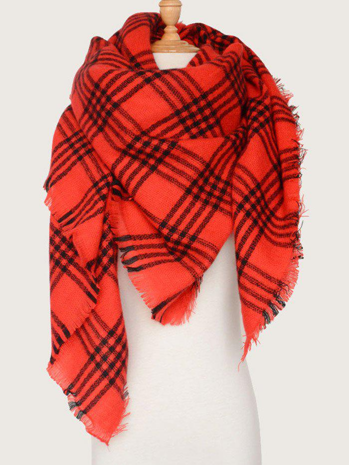Plaid Pattern Shawl Wrap Blanket Scarf with FringedACCESSORIES<br><br>Color: RED; Scarf Type: Scarf; Group: Adult; Gender: For Women; Style: Fashion; Material: Acrylic; Pattern Type: Plaid; Season: Fall,Spring,Winter; Scarf Length: 140CM; Scarf Width (CM): 140CM; Weight: 0.2500kg; Package Contents: 1 x Scarf;