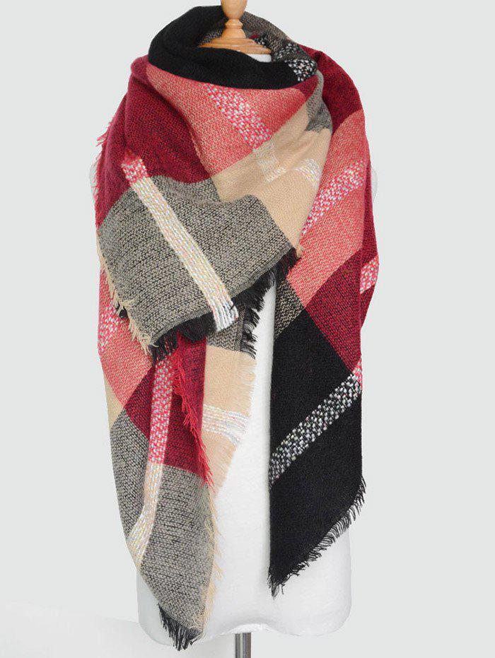 Plaid Pattern Knit Blanket Shawl Wrap Scarf with FringedACCESSORIES<br><br>Color: BURGUNDY; Scarf Type: Scarf; Group: Adult; Gender: For Women; Style: Fashion; Material: Acrylic; Pattern Type: Plaid; Season: Fall,Spring,Winter; Scarf Length: 140CM; Scarf Width (CM): 140CM; Weight: 0.3000kg; Package Contents: 1 x Scarf;