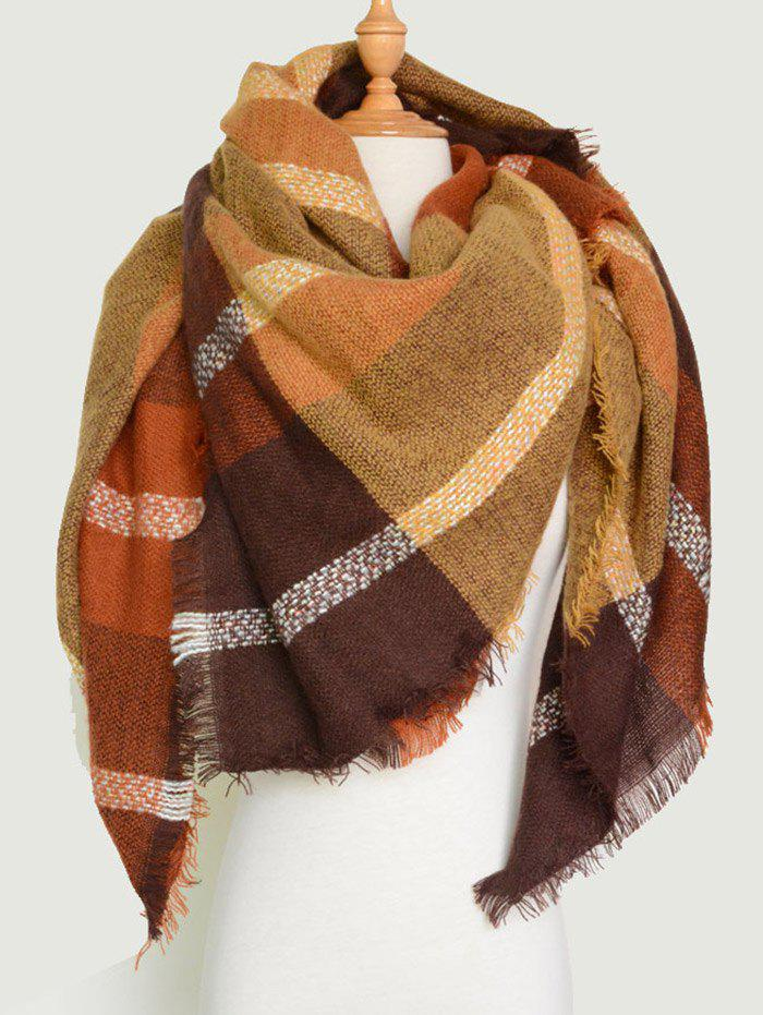Plaid Pattern Knit Blanket Shawl Wrap Scarf with FringedACCESSORIES<br><br>Color: BROWN; Scarf Type: Scarf; Group: Adult; Gender: For Women; Style: Fashion; Material: Acrylic; Pattern Type: Plaid; Season: Fall,Spring,Winter; Scarf Length: 140CM; Scarf Width (CM): 140CM; Weight: 0.3000kg; Package Contents: 1 x Scarf;