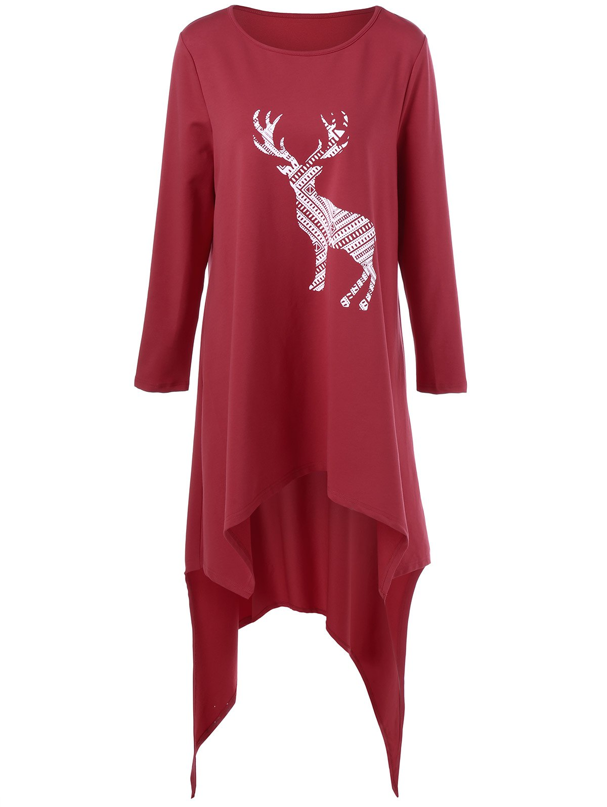 Fashion Deer Print Plus Size Asymmetric T-Shirt