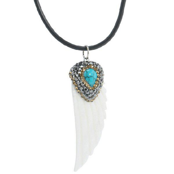 Sale Feather Shape Fake Turquoise Sweater Chain