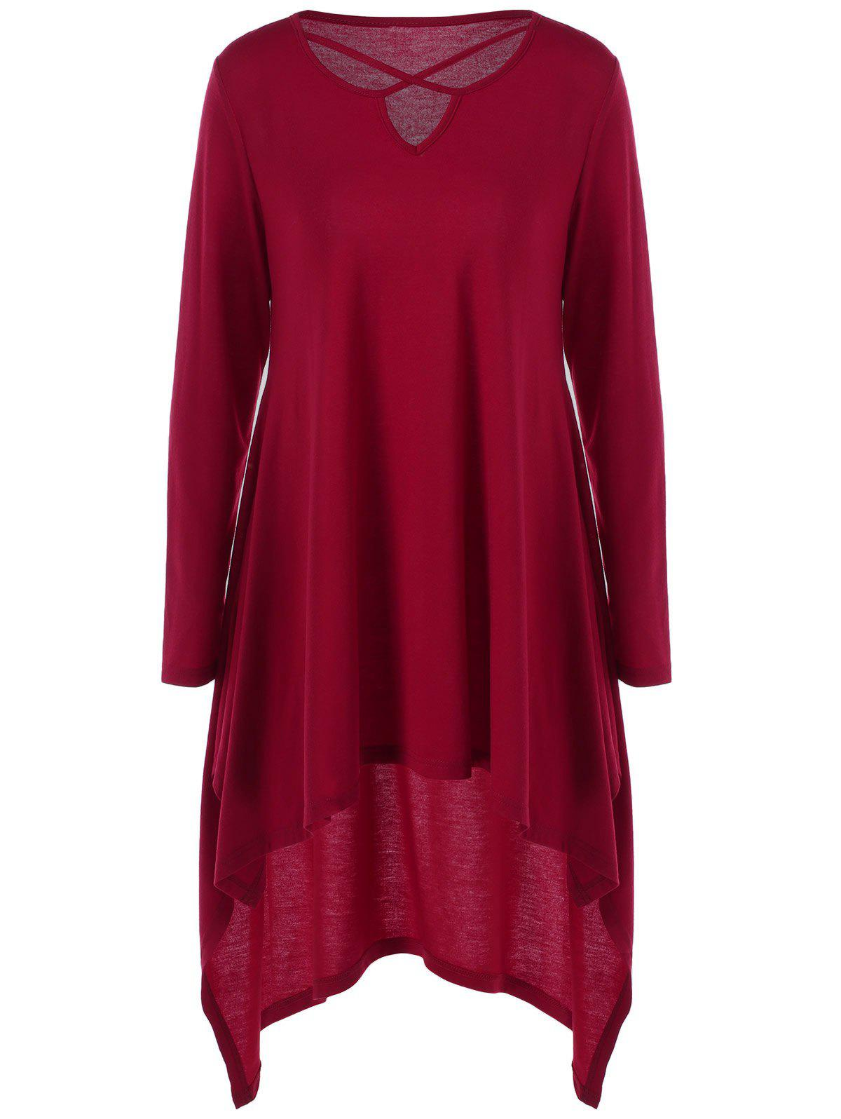 Wine red l cut out high low hem longline t shirt for Red wine out of white shirt