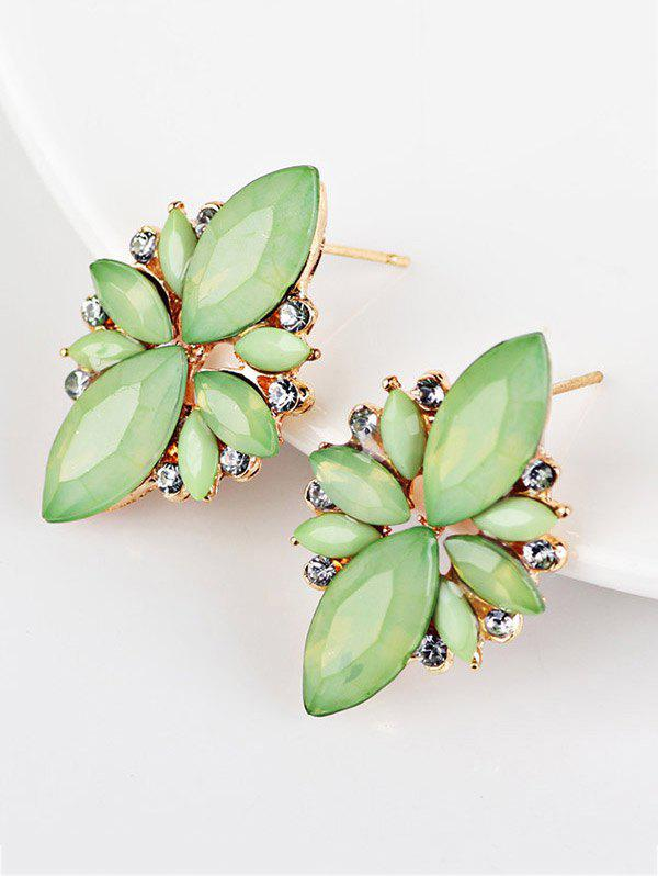 Candy Color Faux Gems Embellished EarringsJEWELRY<br><br>Color: GREEN; Earring Type: Stud Earrings; Gender: For Women; Material: Rhinestone; Metal Type: Alloy; Style: Noble and Elegant; Shape/Pattern: Geometric; Length: 8cm; Weight: 0.0130kg; Package Contents: 1 x Earrings(Pair);