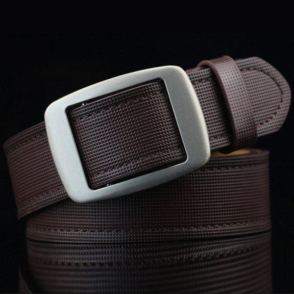 Sale Gingham Embossed Faux Leather Square Buckle Belt