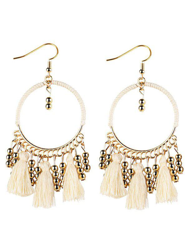 Bohemian Tassel Circle Drop EarringsJEWELRY<br><br>Color: WHITE; Earring Type: Drop Earrings; Gender: For Women; Metal Type: Alloy; Style: Trendy; Shape/Pattern: Geometric; Length: 9cm; Weight: 0.021kg; Package Contents: 1 x Earrings(Pair);