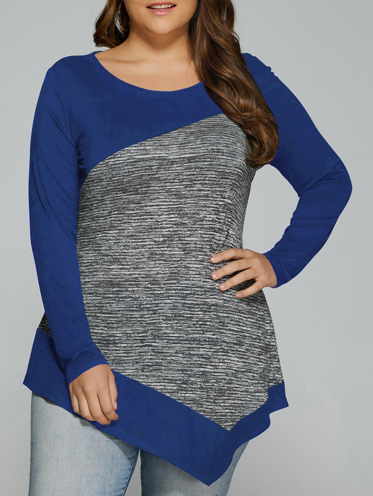Long Sleeve Plus Size Heather Trim Asymmetrical T-ShirtWOMEN<br><br>Size: 3XL; Color: BLUE; Material: Rayon; Shirt Length: Long; Sleeve Length: Full; Collar: Scoop Neck; Style: Casual; Season: Fall,Spring; Pattern Type: Patchwork; Weight: 0.370kg; Package Contents: 1 x T-Shirt;